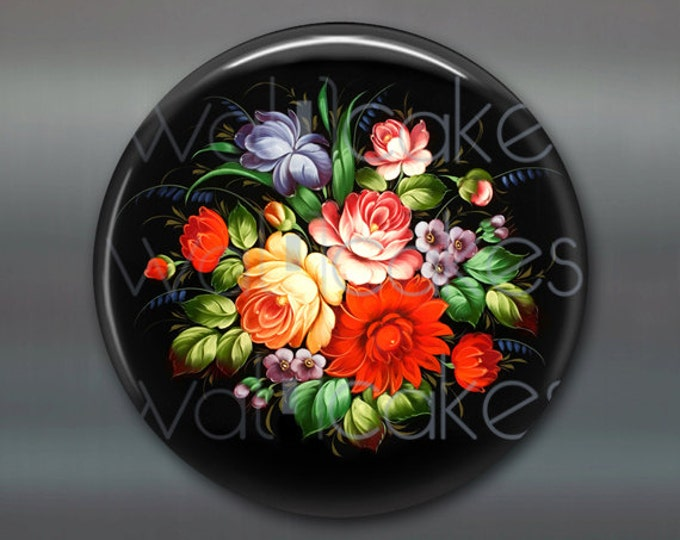 "3.5"" floral fridge magnet, russian trays flower decor, kitchen decor, large magnet, stocking stuffer  MA-338"