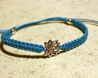 Lotus Yoga Friendship Bracelet Silver Flower Charm On Cotton Cord