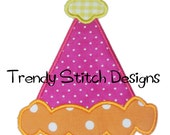 Birthday Party Hat 2 Applique Machine Embroidery Design INSTANT DOWNLOAD