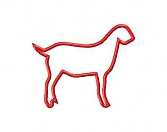 Show Goat Applique Design Machine Embroidery Design INSTANT DOWNLOAD