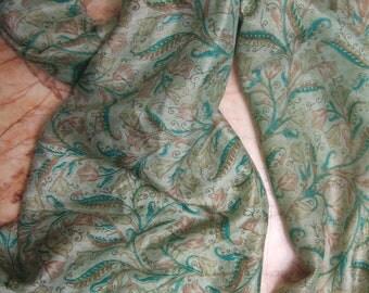 Beautiful Floral Print Scarf,  Recycled Sari Pure Silk Scarf (20x68)