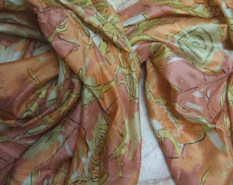 Beautiful Multicolor  Abstract Print Recycled Sari Pure Silk Scarf (42x69)
