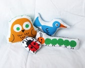 LAST ONE - Plush Birds, Caterpillar, and Ladybug Pillows
