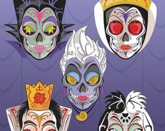 5 Disney Villains Sugar Skull Vinyl Sticker