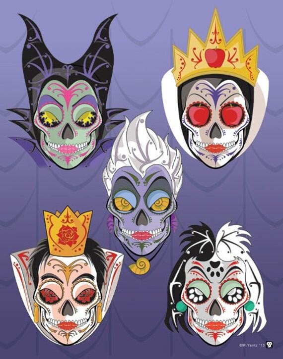 5 Disney Villains Sugar Skull Print 11x14 print