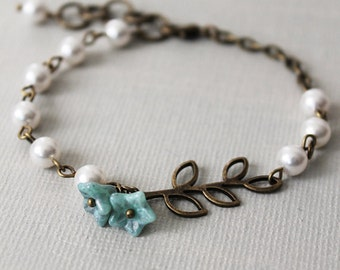 Leaf Branch Bracelet.pearls bracelet. beads bracelet. antique brass leaves, pearls, and blue flowers. bridesmaid bracelet