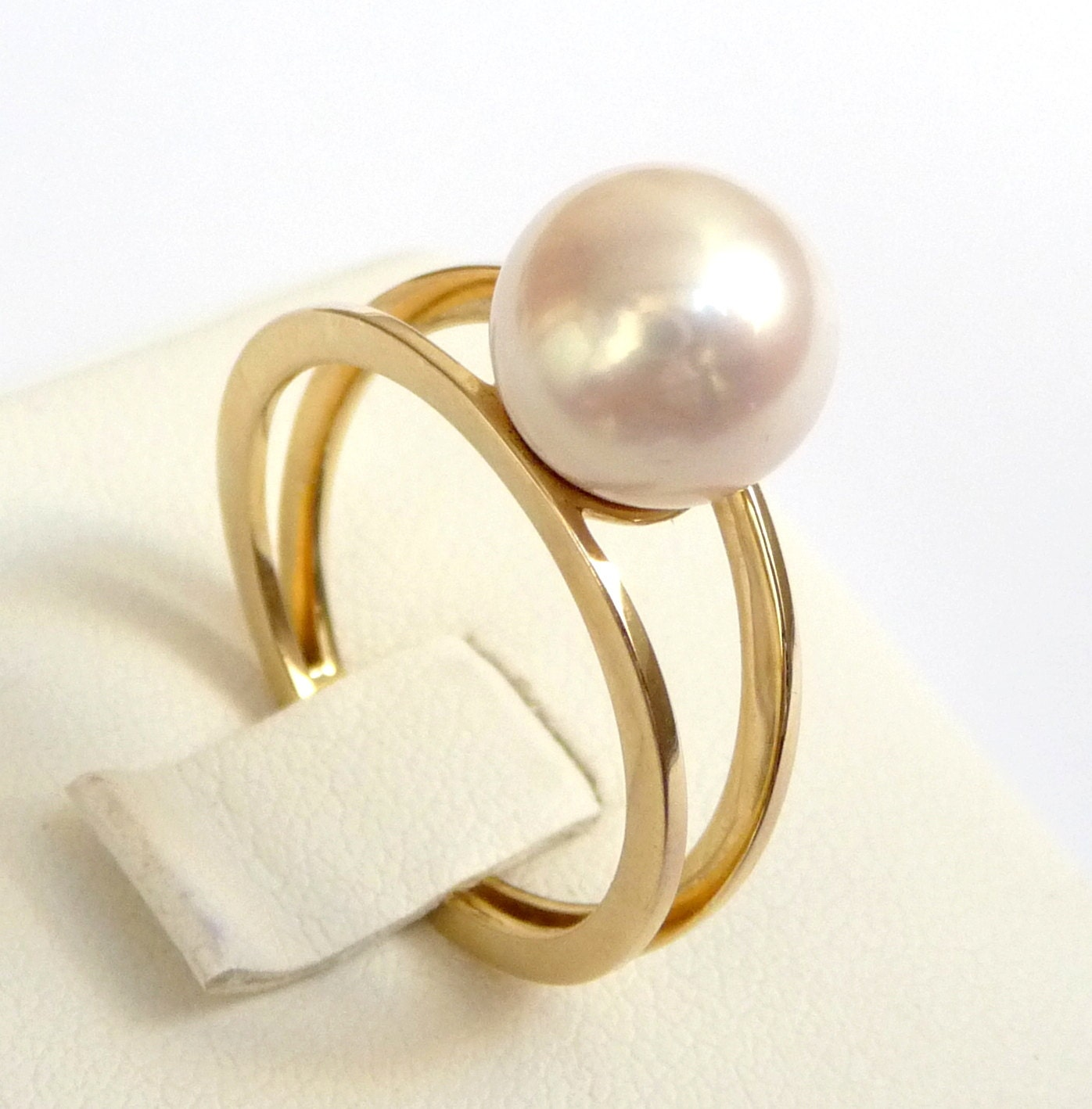 Pearl Wedding Ring: Pearl Engagement Ring Gold Pearl Ring Perfect Gift Promise