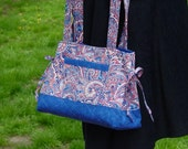 Red, White and Blue Paisley Print Quilted Bag Custom Made For You  POCKETS, POCKETS and POCKETS.    by QuiltedCreationsByMe