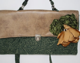 Oversized Day Clutch in Green Chenille