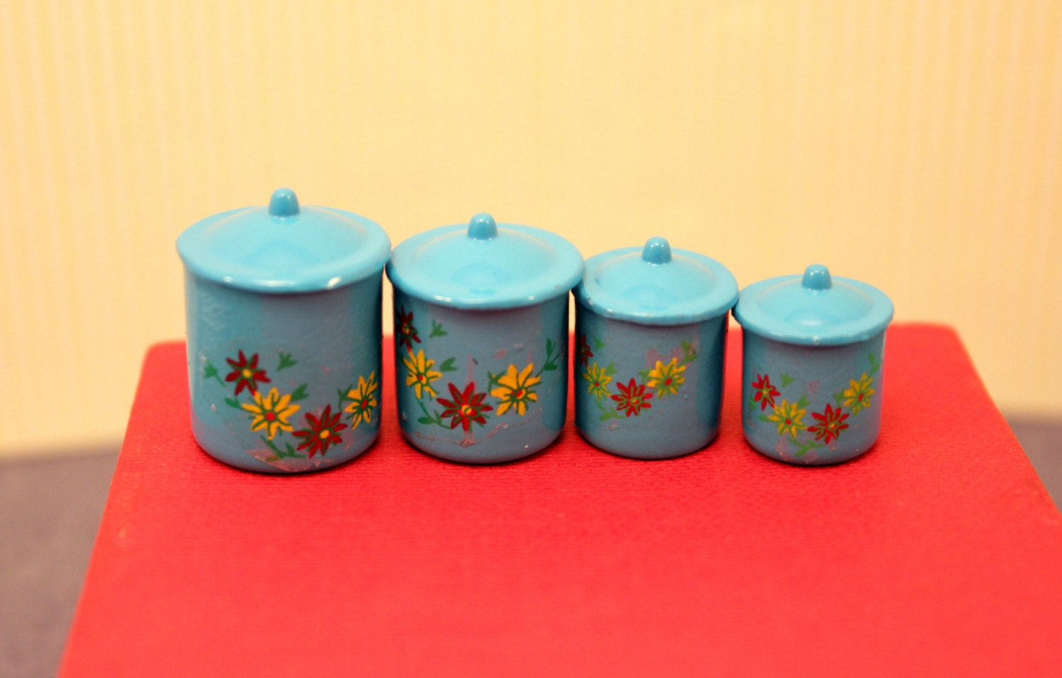 miniature kitchen canister set blue by mothersminitreasures. Black Bedroom Furniture Sets. Home Design Ideas