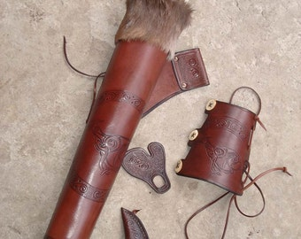 Hip Quiver & Arm Guard in a Tooled Archery Leather Set Celtic Greyhound