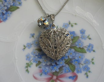 Etched Heart.vintage heart pendant necklace