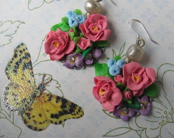 April Showers no 1. The Rose.vintage glass bead and rhinestone handsculped clay flower dangle earrings