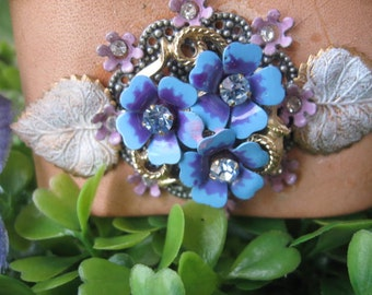 Forget Me Not.vintage glass rhinestone and enamel flower jewerly assemblage leather cuff bracelet