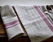 2 linen carte postale placemats/napkins
