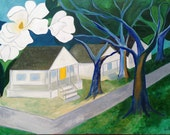 36 x 48 Magnolias in the Heights -large original abstract folk fauvist trees and houses painting