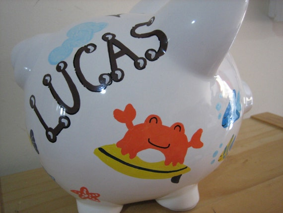 Personalized Large Piggy Bank Monkey Ocean By