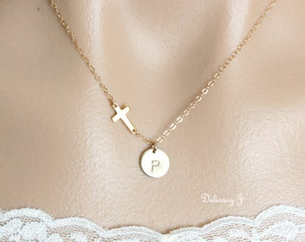 Sideways cross necklace, initial necklace with personalized initial disc, personalize necklace, cross initial , mother necklace, gold cross