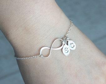 Infinity bracelet, Initial bracelet, Personalized bracelet, Inifinity leaf bracelet, Couple bracelet, Friendship bracelet, Mother and child