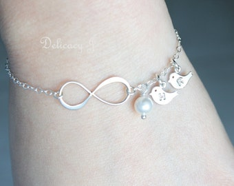 Bird infinity bracelet, Initial baby bird bracelet, Personalized bracelet, Initial bracelet, Infinity bird birthstone, Couple Friendship
