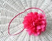 Beautiful Silky Satin Flower Headband - Variety of Color Choices- Skinny 1/8 inch Skinny Headband White Hot Pink Navy Pink Blush Raspberry