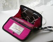 Phone wallet - type 5 - for bulky phones in geometric design with pink lining, READY TO SHIP