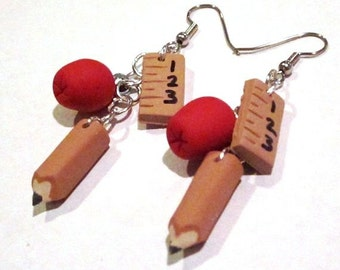 Back to School Dangle Earrings - Jewelry - Handmade - Teacher - Fall Autumn- Apple Ruler Pencil - Polymer Clay - Gifts Under 20, 25, 30