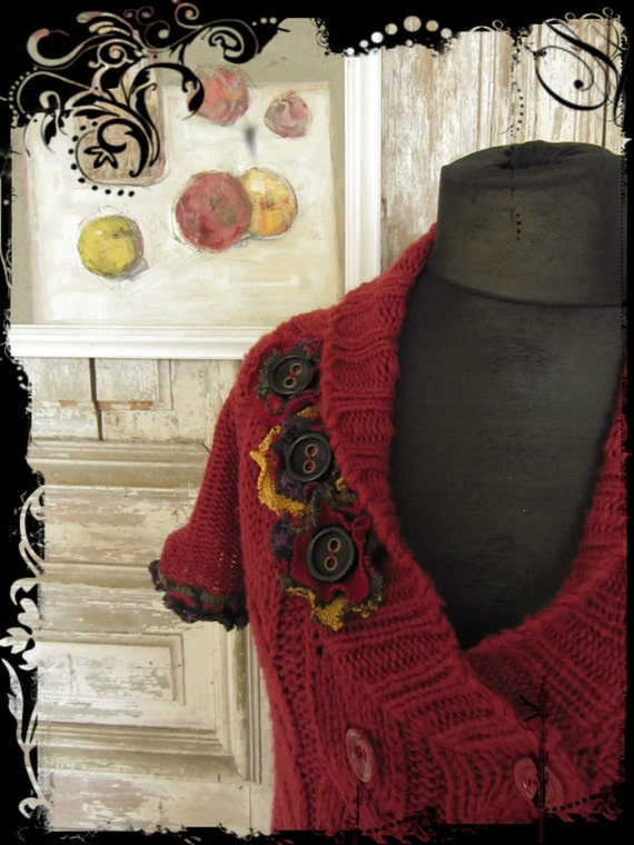 Dark Red Long Duster Cardigan with Tattered Ruffles and Flowers / Women Tops Sweaters / Upcycled Clothing / Boho Chic by Garage Couture
