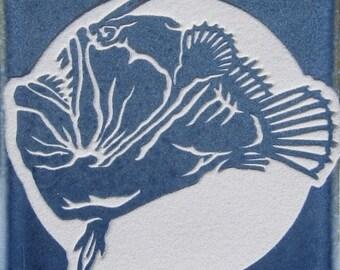 4x4 Deep Sea Angler Fish - Etched Porcelain Tile Decorative Tile - SRA
