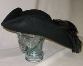 Black Pirate Hat- Classic Tricorn with Black Trim and Feathers