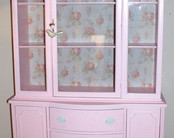 Pink China Cabinet  made for my customer  Michelle is in HGTV Magazine -october 2013