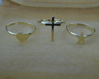 50% off this item, enter LOVE99 at checkout, Ring Set, Trio Set, Gift, Best Friend Ring Set, Christmas Gift, Star Ring, Cross Ring, Heart