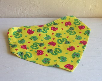Bright Yellow Grils Head Scarf With Book Worms And Red Apples