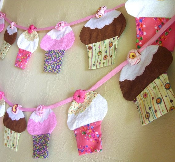 Colorful Double Sided Cupcake Fabric Bunting One of a Kind Cup Cake Banner