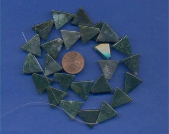 Strand of 16mm Triangle Beads:  Moss Agate