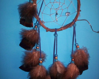Native American inspired Dream Catcher-4-89, Turkey Feathers,  Glass/Metal Beads, Grapevine, Denim Lapis Bear