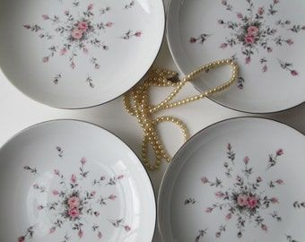 Vintage Harmony House Rosebud Pink Gray Coupe Soup Bowls Set of Four