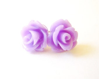 Lavender Rose Earrings- Surgical Steel Post Earrings- 10mmBlack Friday Sale 20% Off