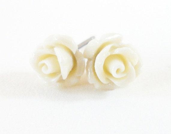 Tiny Light Beige Rose Earrings- Surgical Steel or Titanium Post Earrings- 7mm