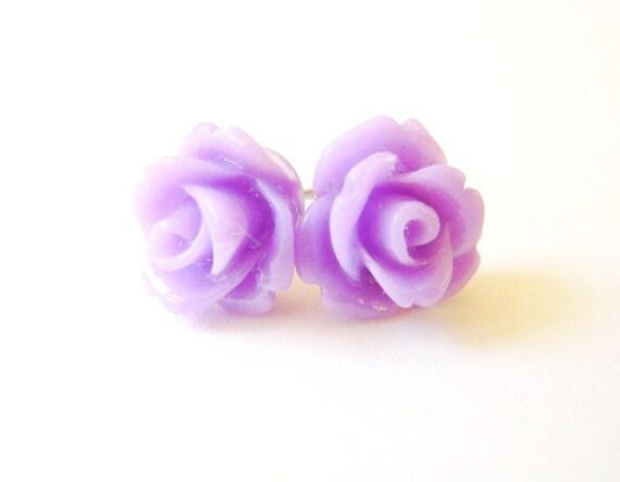 Lavender Rose Earrings- Surgical Steel Post Earrings- 10mmBlack Friday Sale 20% Off