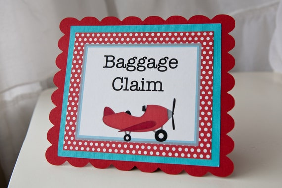Airplane Birthday Baggage Claim Sign Gift Table By Cupcake