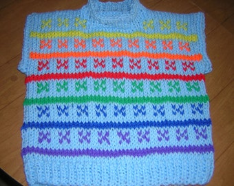 Handknitted Childs Toddlers Crew Neck Rainbow Pullover Vest