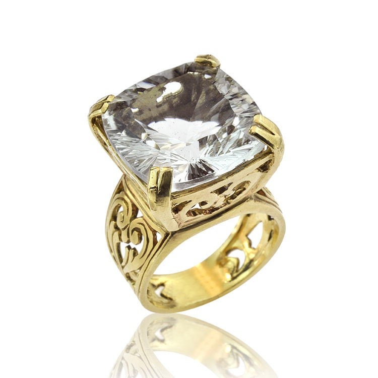sparkling white quartz gold cocktail ring white quartz ring