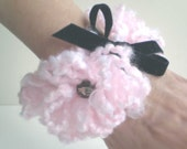 Pink Poodle Cuff, Pink Fiber Bracelet, Pink Poodle Bracelet, Loopy Yarn Bracelet