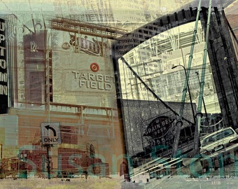 Minneapolis Collaged, fine art ,photo montage, Minnesota photo, urban, Uptown, wall art, home decor, office art, Target Fields, kitchen art