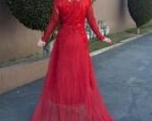 Red Lacy Dress- Lydia Deetz- Bridal Gown Vampy- XL