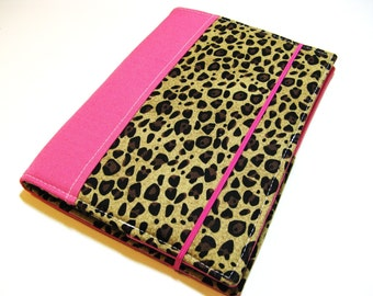 Designer Daily Organizer - Ready to Ship - Fuchsia Cheetah Print - 5x8 Notepad - Portfolio Organizer - List Taker, Fits many EReaders