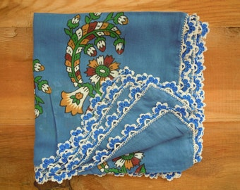 vintage turkish scarf, blue with crochet edging, headscarf, square