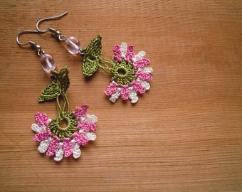 pink earrings,  crochet flower, dangle, pink, white, green