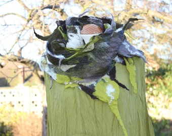 Nuno felted silk & wool narrow skinny scarf - lagenlook - greens taupe beige white- made to order OOAK - Art To Wear